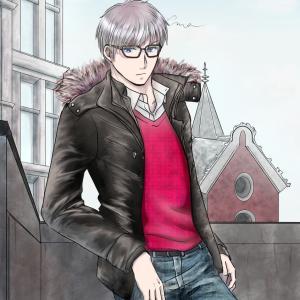 【カラー絵】冬っぽい絵描いてみた(ジーンズ、革の塗り方備忘録)
