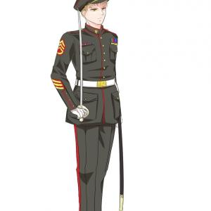制服男子描いてみた。やっぱり皺も影も分からない。【軍服の描き方本】