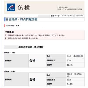 仏検合格発表(4級・3級)