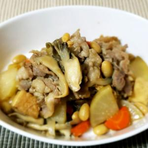 ご飯にのせて美味しい!大豆と野菜の炒め煮