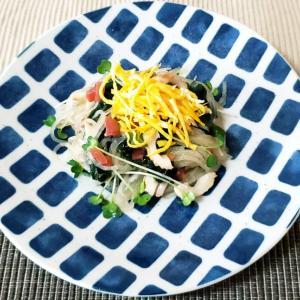 カリカリ梅の甘酸っぱさが美味しいはるさめサラダ