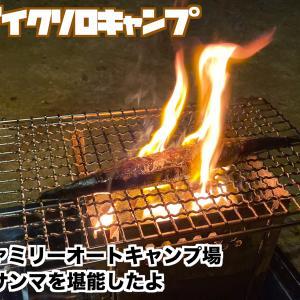 PCX150で行くバイクソロキャンプ第3弾!自然の森ファミリーオートキャンプ場炭火で秋刀魚とハラミを堪能したよ!(後編)