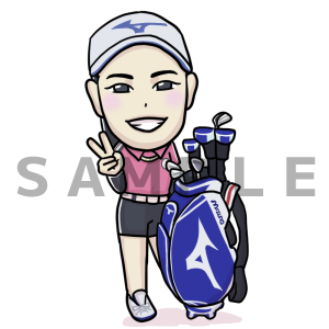 プロゴルファーの原英莉花プロの似顔絵イラスト描きました。