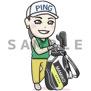 プロゴルファーの比嘉真美子プロの似顔絵イラスト描きました☆