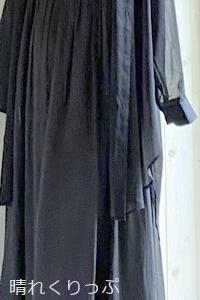 GUのシアーロングシャツで夏のブラックコーデ
