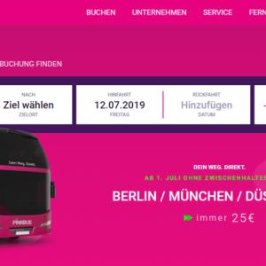 【Pinkbus】25€均一 目的地まで直行 10回目に乗車無料なドイツの長距離バス