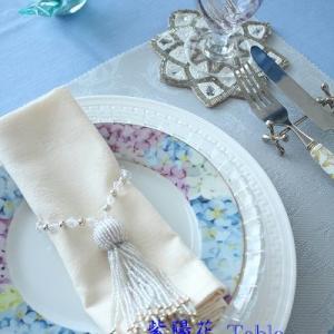 ☆爽やかな紫陽花のテーブルコーディネイト☆ポーセラーツdeテーブルコーデ