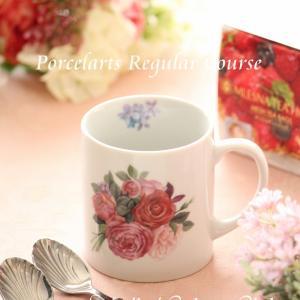 ※華やかなバラ柄のマグカップ※ポーセラーツ定期講座@済生会カルチャークラブ4月
