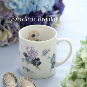 ※爽やかなブルーの小花柄のマグカップ※ポーセラーツ定期講座@済生会カルチャークラブ4月