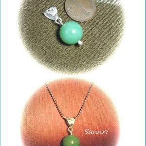 11月24日の彫金教室 頼まれたリメーク 緑の玉NO1