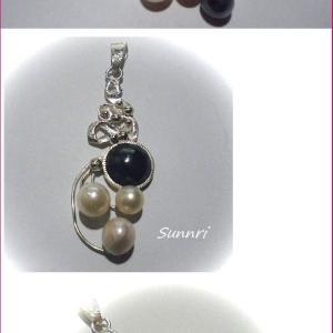 8月2日の彫金教室の作品 ヘマタイト&真珠