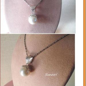 10月11日の彫金教室の作品 大粒真珠のペンダント