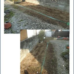 人工芝を敷くための土地ならし