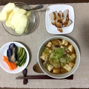 今日の夜ご飯☆卵とレタスのお味噌汁