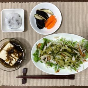 今日の夜ご飯☆水菜と竹輪とキュウリのサラダ