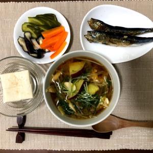 今日の夜ご飯☆水菜とさつまいものお味噌汁