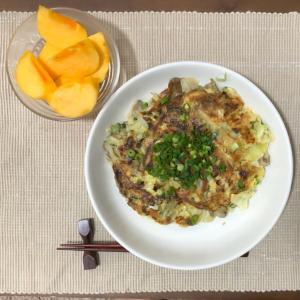 今日の夜ご飯☆ネギと舞茸のお好み焼き