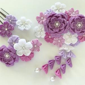 紫の桜尽くしの成人式髪飾り♡