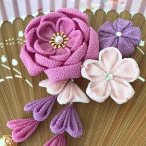 八重梅と桜の髪飾り/オールレーズン風なお菓子♡