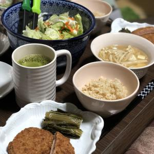 別宅の夕食(5)#おうちごはん #大豆肉 #野沢菜 #信州産