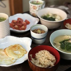 別宅の朝食(5) #おうちごはん #地物野菜 #地卵 #松本市