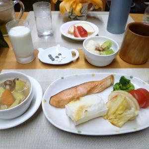 鮭餅、コンソメ野菜スープで朝ごはん♪今朝は大寒、1年で一番寒い日