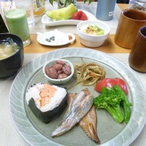 鮭おにぎり、カツオハラスで和食の朝ご飯♪サヘルローズさん親子に感動!