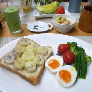 バナナチーズトースト、メロンで朝ごはん♪鉾田市のメロンは日本一!