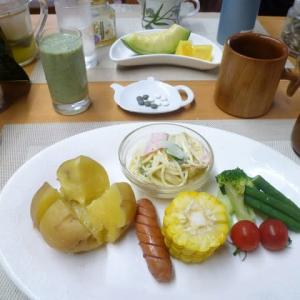 じゃがバター、パスタサラダで朝ごはん♪東京都の感染者224人、驚きです。