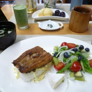 土用二の丑うな丼、野菜サラダで朝ごはん♪新蜜が届きました。