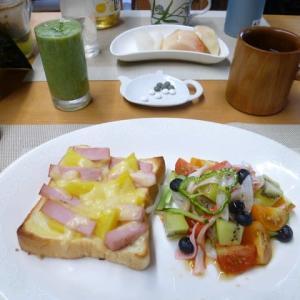パインとハムのピザトースト、野菜サラダで朝ごはん♪