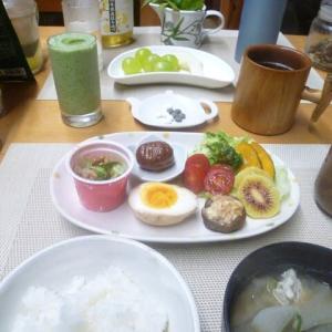 納豆、煮卵椎茸シーチキン焼きで朝ごはん♪今日は子ども食堂の日