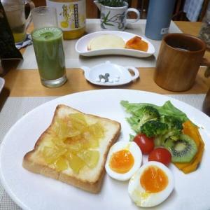 リンゴジャム付きトースト、ゆで卵、野菜サラダで朝ごはん♪野菜中心の食事は排便がスムーズです。
