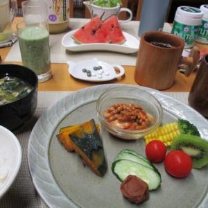 キムチ納豆ご飯、江戸崎カボチャで朝ごはん♪
