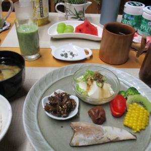 カツオのハラス、ゴーヤ佃煮で朝ごはん♪