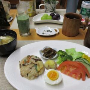 きのこおこわ、ゴーヤ佃煮で朝ごはん♪