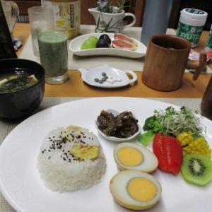 栗ご飯、煮卵で朝ごはん♪