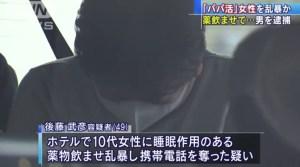 後藤武彦容疑者の顔画像や経歴について!パパ活女性に薬物を飲まし強盗強制性交容疑で逮捕!SNSの反応は?
