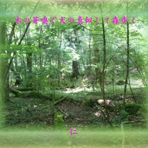 『 木の芽嗅ぐ犬の真似して森歩く 』青のくさみ575交心xzx2601