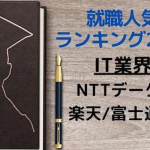◆就職人気ランキング2020◆IT業界:NTTデータ/楽天/富士通