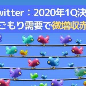 ◆Twitter:2020年1Q決算◆巣ごもり需要で微増収:在宅勤務永遠に