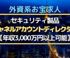 ◆年収3000万円以上可能◆セキュリティ製品:チャネルアカウントディレクター