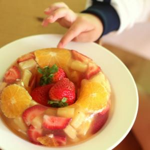缶詰フルーツで★簡単華やかリングゼリー。アレルゲンフリーで子供の誕生日やお祝い事におすすめ☆