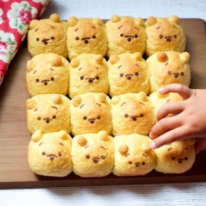 ツムツムプーさんのかぼちゃちぎりパンを手作り☆ブラックココアパウダーで顔を描いてみました♪