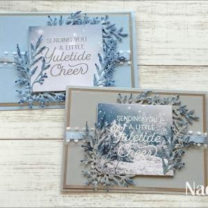 雪のキラキラをつけたカード