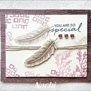 試し捺しペーパーで作ったカード
