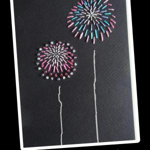 紙に刺繍したカード