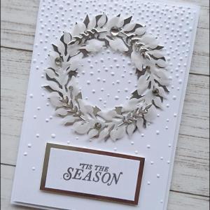 白と銀色で作ったXmasカード