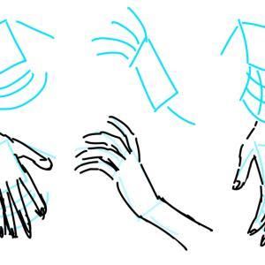描き方メモ【手のアタリ】□/ 指は流れとwi-fiで