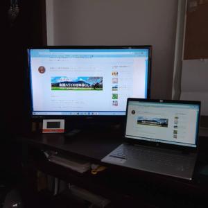 大きな画面が調子いい! テレビをパソコンモニター代わりに使う。